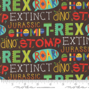 Jurassic Jamboree by Abi Hall - 4883 - Dinosaur Words on Dark Brown - 35291 19 - Cotton Fabric